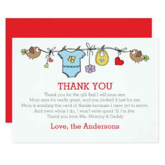 Colored babyboy clothes thank you BABY SHOWER Card