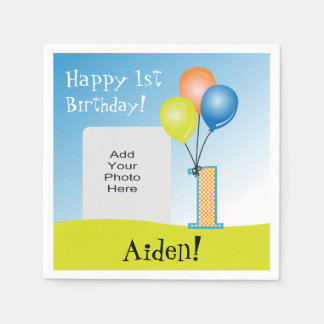 Colored Balloons Child's 1st Birthday Photo Paper Napkins