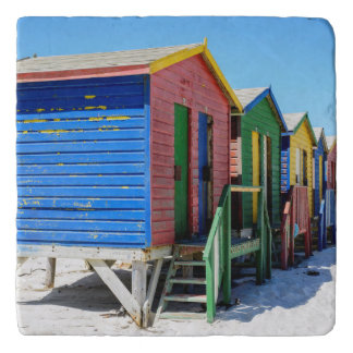 Colored Beach Huts Trivets