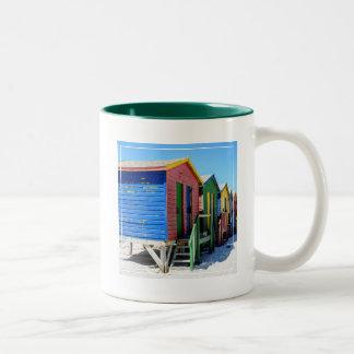 Colored Beach Huts Two-Tone Coffee Mug