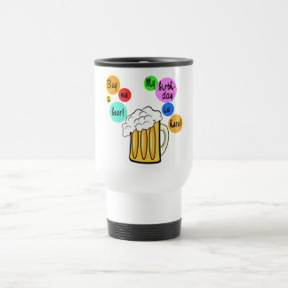 Colored Beer Bubbles Birthday Tshirt Stainless Steel Travel Mug