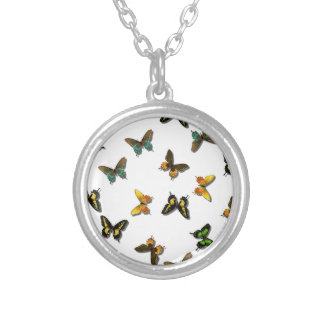 Colored Butterflies Art Silver Plated Necklace