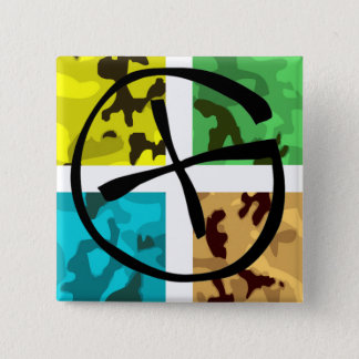 Colored Camo Geocaching Logo 15 Cm Square Badge