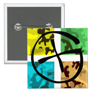 Colored Camo Geocaching Logo 15 Cm Square Badge