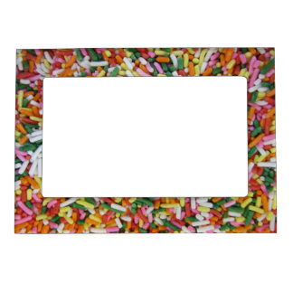 colored Candy sprinkes Texture Template Magnetic Picture Frame