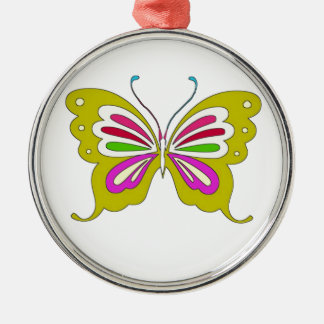 Colored Cartoon Butterfly Silver-Colored Round Decoration