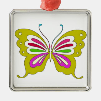 Colored Cartoon Butterfly Silver-Colored Square Decoration