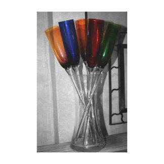 Colored Champagne Flutes Canvas Print