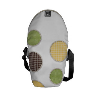 colored circles in silver frames messenger bag