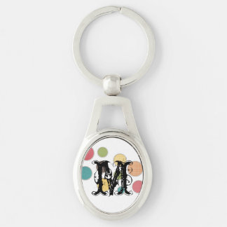 colored circles in silver frames Silver-Colored oval key ring