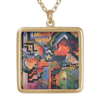 """Colored Composition"" Art necklace"
