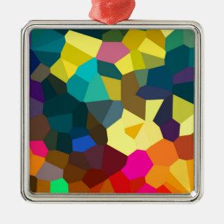 Colored Crystals Silver-Colored Square Decoration