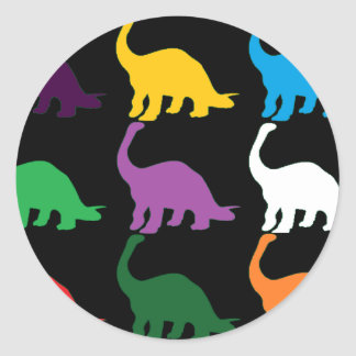 Colored Dinos Classic Round Sticker