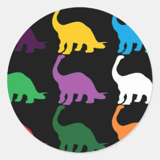 Colored Dinos Round Sticker