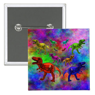 Colored Dinosaurs on Pastel Background Buttons