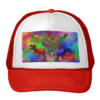 Colored Dinosaurs on Pastel Background Cap