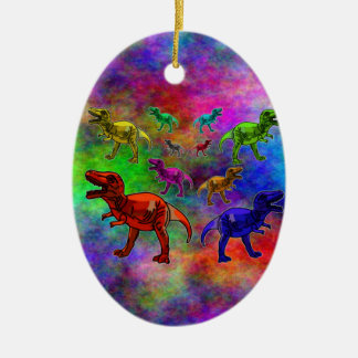Colored Dinosaurs on Pastel Background Ceramic Oval Decoration
