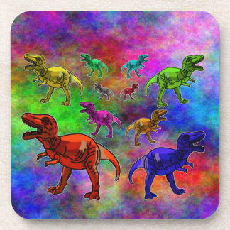 Colored Dinosaurs on Pastel Background Coaster