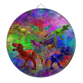 Colored Dinosaurs on Pastel Background Dart Board