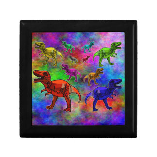 Colored Dinosaurs on Pastel Background Gift Box