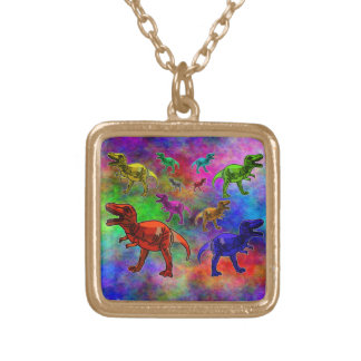 Colored Dinosaurs on Pastel Background Gold Plated Necklace