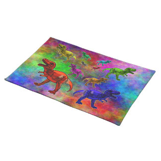 Colored Dinosaurs on Pastel Background Placemat