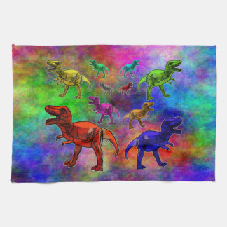 Colored Dinosaurs on Pastel Background Kitchen Towels