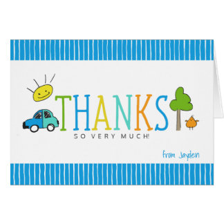 Colored Doodles Thank You Note Card | Car