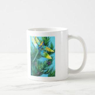 Colored Drangonfly & Pine Tree Coffee Mug