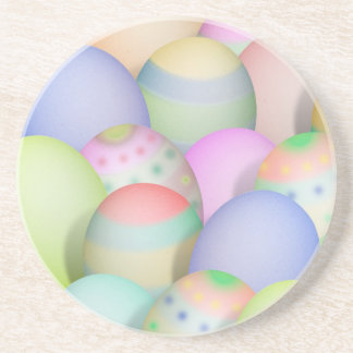 Colored Easter Eggs Background Drink Coaster
