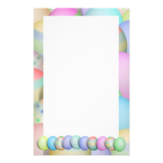 Colored Easter Eggs Background Stationery