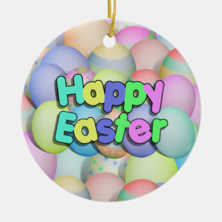 Colored Easter Eggs - Happy Easter Round Ceramic Decoration