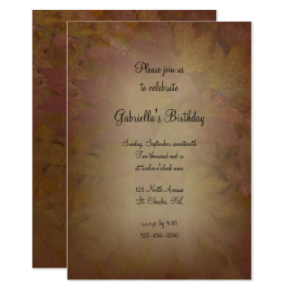 Colored Fall Maple Leaves Birthday Party Invite