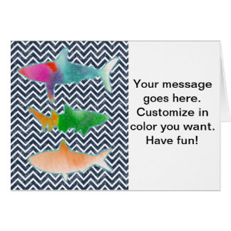 Colored Fishes on zigzag chevron - Blue and White Greeting Card