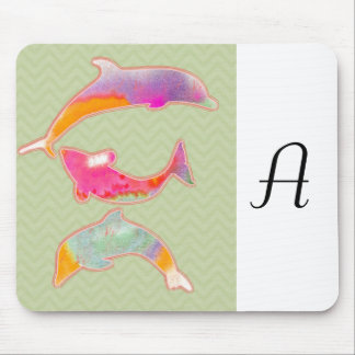 Colored Fishes on zigzag chevron - Green Mouse Pad