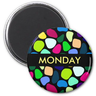 Colored Flat Stone Mosaic I + your ideas 2 Inch Round Magnet