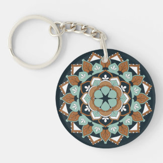 Colored Floral Mandala  060517_1 Key Ring
