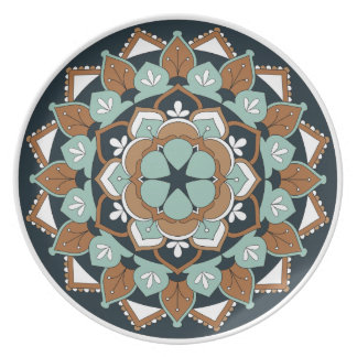Colored Floral Mandala  060517_1 Plate