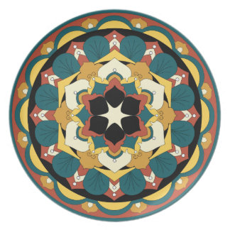 Colored Floral Mandala 060517_4 Plate