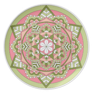 Colored Floral Mandala 061117_1 Plate
