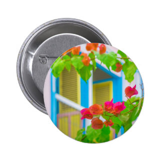 Colored Flowers in Front ot Windows House 6 Cm Round Badge