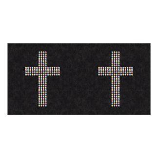 Colored Gem Cross Photo Greeting Card