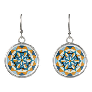 Colored Geometric Floral Mandala 060517_2 Earrings