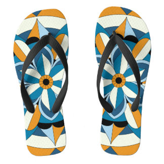 Colored Geometric Floral Mandala 060517_2 Flip Flops