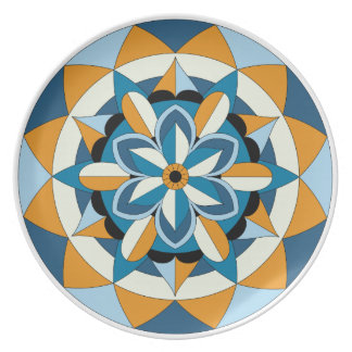Colored Geometric Floral Mandala 060517_2 Plate
