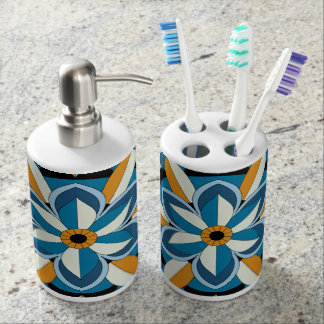 Colored Geometric Floral Mandala 060517_2 Soap Dispenser And Toothbrush Holder