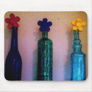 Colored Glass Bottles with Daisies Mouse Pads