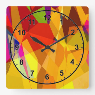 Colored Glass Square Wall Clock