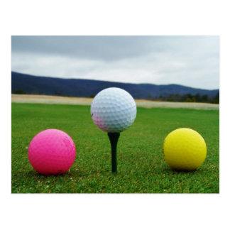 Colored Golf Balls, mountain tee Postcard