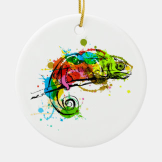 Colored hand sketch chameleon christmas ornament